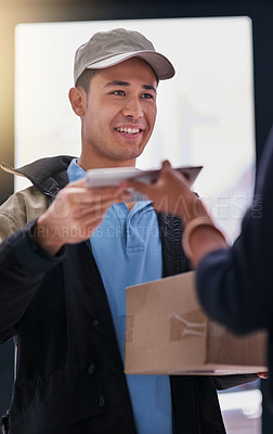 Buy stock photo Shot of a courier making a delivery to an unidentifiable businesswoman in her office