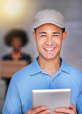 Buy stock photo Portrait of a happy delivery man making a delivery to a businesswoman in her office