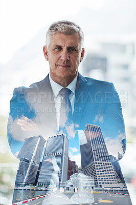 Buy stock photo Multiple exposure shot of a mature businessman superimposed over a cityscape
