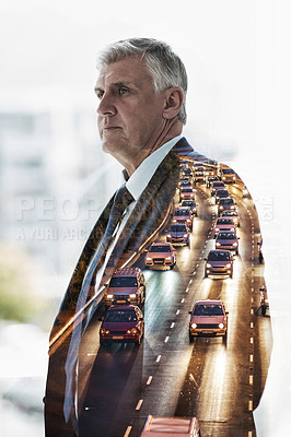 Buy stock photo Multiple exposure shot of a mature businessman superimposed over a highway