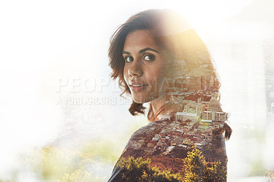 Buy stock photo Multiple exposure shot of young businesswoman superimposed over a cityscape