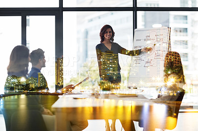 Buy stock photo Multiple exposure shot of a corporate business meeting superimposed over a cityscape
