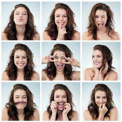 Buy stock photo Composite image of a young woman doing different expressions