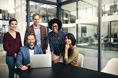 Buy stock photo Portrait of a group of colleagues having a meeting at work