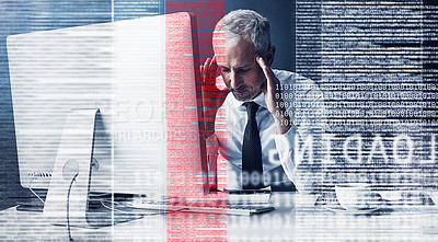 Buy stock photo Cropped shot of a mature businessman looking stressed while coding