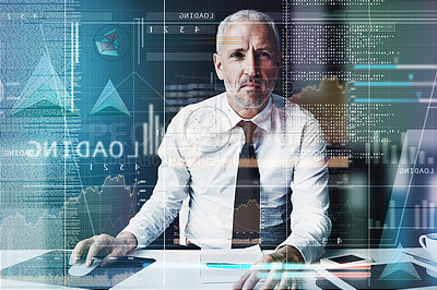 Buy stock photo Cropped portrait of a mature businessman working on programming code