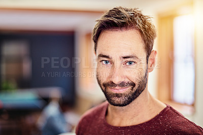 Buy stock photo Portrait of a confident man standing in a modern office