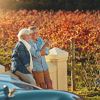 Buy stock photo Shot of a happy senior couple admiring the view while out on a roadtrip