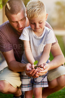 Buy stock photo Cropped shot of a father and his little son holding a plant growing out of soil