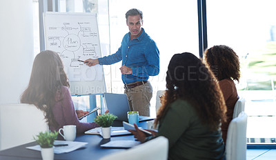 Buy stock photo Shot of a businessman delivering a presentation to his colleagues in a boardroom meeting