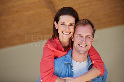 Buy stock photo Portrait of a mature couple enjoying the day at home together