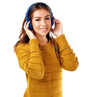 Buy stock photo Studio shot of a young woman wearing headphones against a white background