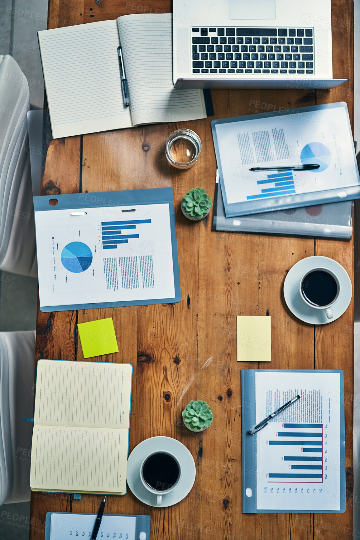Buy stock photo High angle shot of a boardroom table