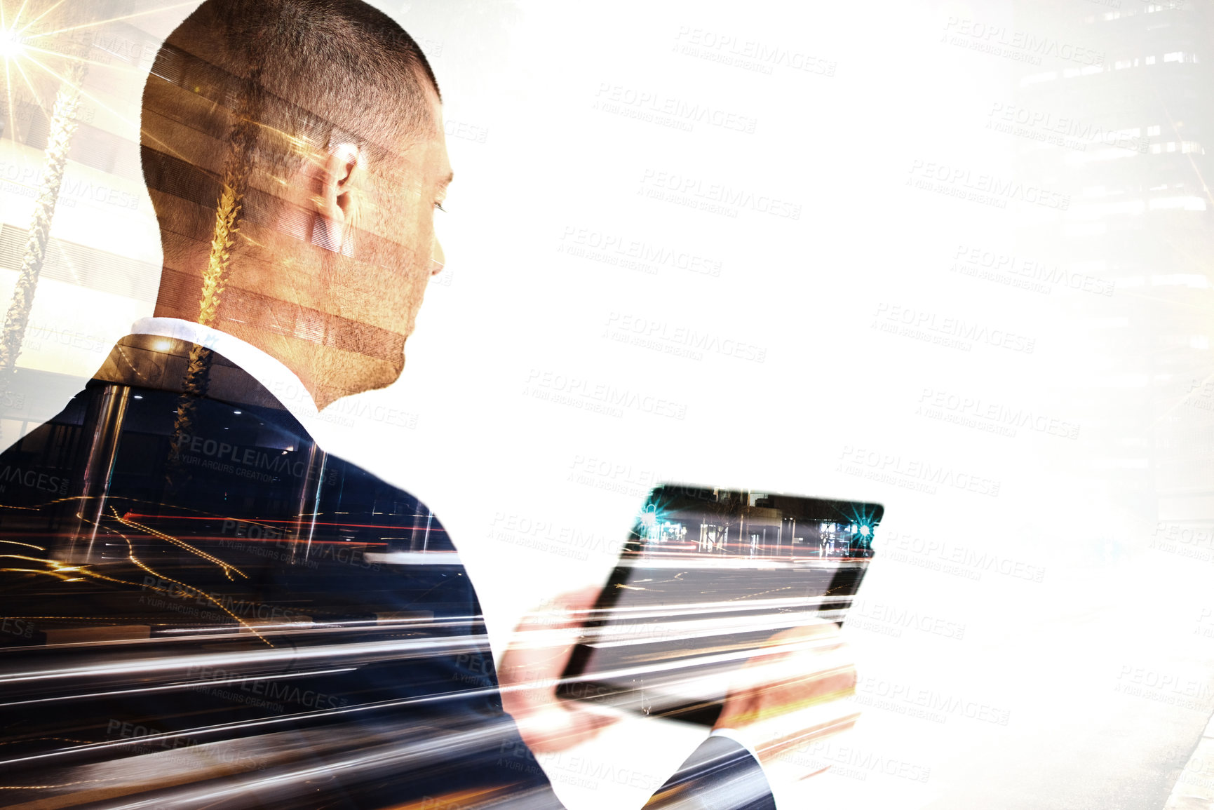 Buy stock photo Multiple exposure shot of a mature businessman using a digital tablet superimposed over a cityscape