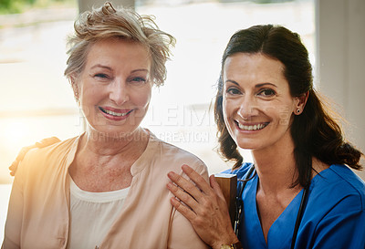 Buy stock photo Portrait of a smiling senior woman and a nurse in assisted living facility