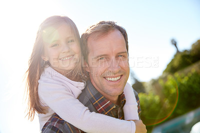 Buy stock photo Cropped shot of a single father spending time with his daughter