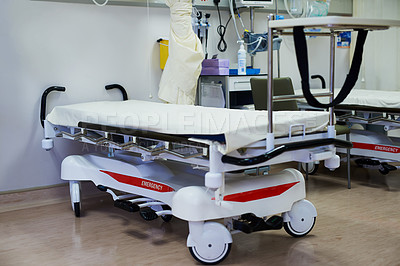 Buy stock photo Shot of a bed in a hospital ward