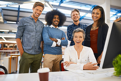 Buy stock photo Cropped portrait of a team of designers working together in their office