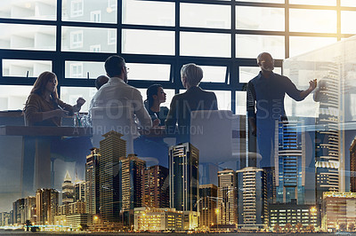 Buy stock photo Full length shot of a mature businessman giving a presentation in the boardroom superimposed over a city