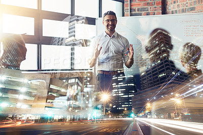 Buy stock photo Shot of a mature businessman giving a presentation in the boardroom superimposed over a city street