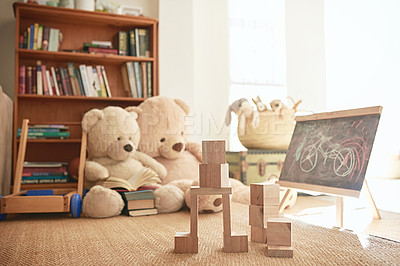 Buy stock photo Shot of a playroom filled with toys