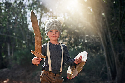 Buy stock photo Portrait of an adorable little boy playing with a cardboard sword and shield outside