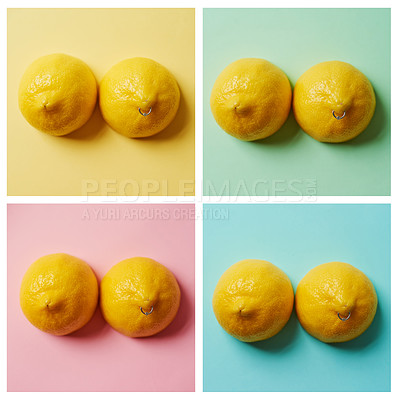 Buy stock photo Composite studio image of two lemons with a ring piercing against a colorful background
