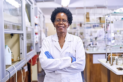 Buy stock photo Portrait of a female scientist standing in a lab