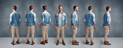 Buy stock photo Full length multiple shot of a handsome young man posing at different angles against a gray background in the studio