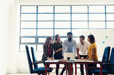 Buy stock photo Shot of creative employees having a meeting in a modern office