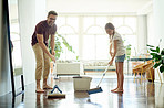 Teaching his daughter his awesome cleaning skills