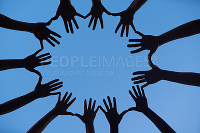 Buy stock photo Cropped shot of unrecognizable people's hands
