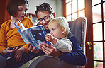 They enjoy story time as a family