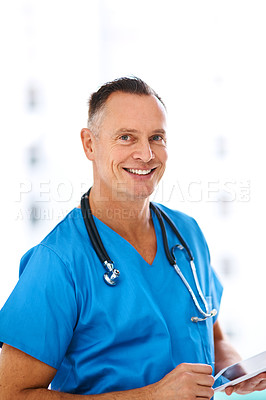 Buy stock photo Cropped shot of a medical practitioner in a hospital