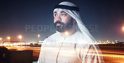 Buy stock photo Studio shot of a young muslim businessman posing against a cityscape background