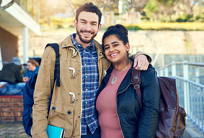Buy stock photo Shot of college students between classes on campus grounds
