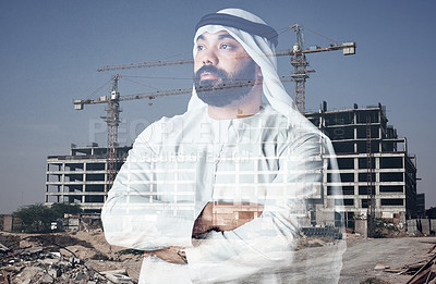 Buy stock photo Studio shot of a young muslim businessman against a building construction background
