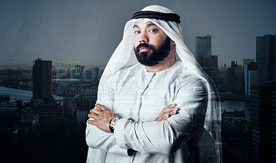 Buy stock photo Studio shot of a young muslim businessman against a cityscape background