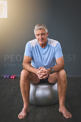 Buy stock photo Full length portrait of a handsome senior man doing rehabilitative exercises