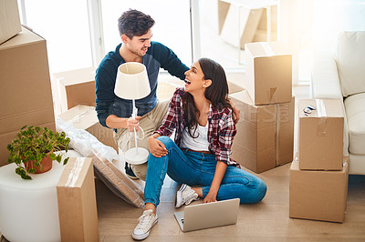 Buy stock photo Shot of a young couple on moving day