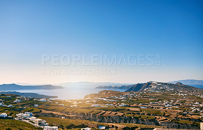 Buy stock photo Background shot of a beautiful shoreline landscape in the mediterranean during the day