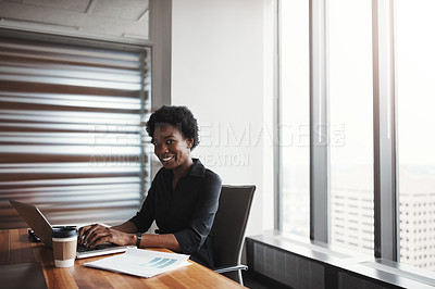 Buy stock photo Cropped portrait of an attractive businesswoman working in her corporate office