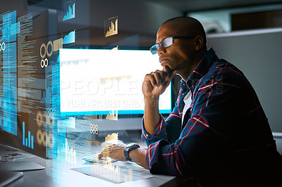 Buy stock photo Cropped shot of a young male programmer working on computer code in his office