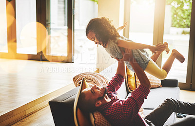 Buy stock photo Cropped shot of a father spending some quality time with his daughter