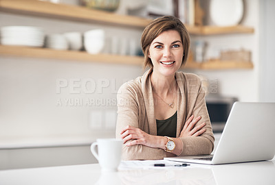 Buy stock photo Portrait of a mature woman using a laptop at home