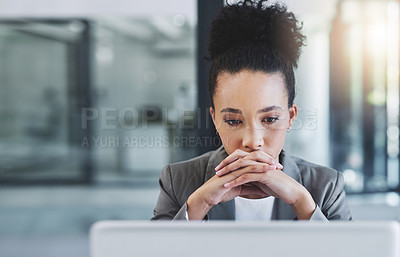 Buy stock photo Cropped shot of an attractive young businesswoman in her office