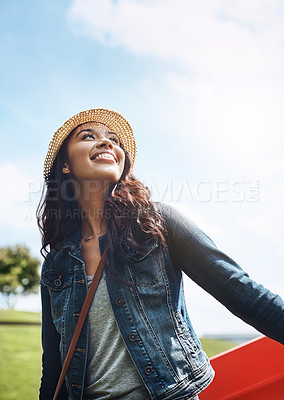 Buy stock photo Shot of a beautiful young woman spending her day in the city