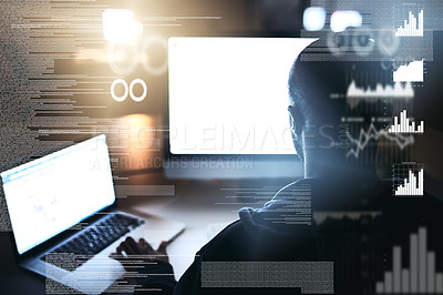 Buy stock photo Rearview shot of a young male hacker cracking a computer code in the dark