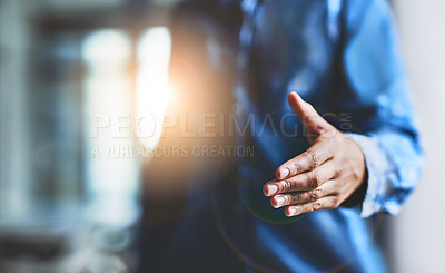 Buy stock photo Closeup shot of an unrecognizable woman extending a handshake