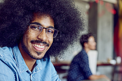 Buy stock photo Portrait of a confident young designer sitting in an office